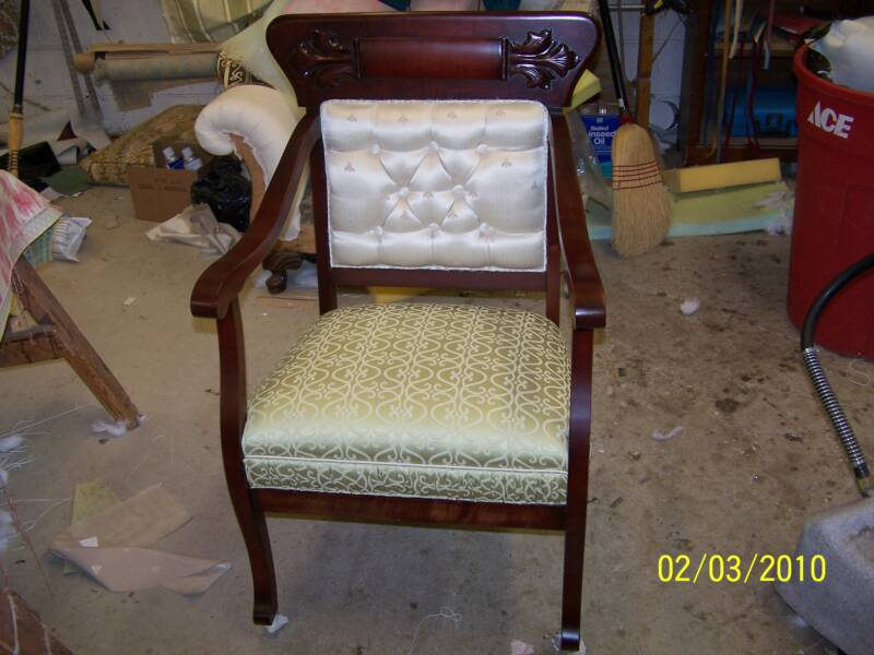 Mahogany Arm Chair   Refinished And Coordinated Upholstery By Dave Stacy